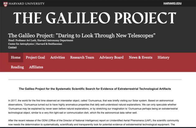 """Screenshot der Startseite des """"Galileo Project"""" Copyright: Galileo Project"""