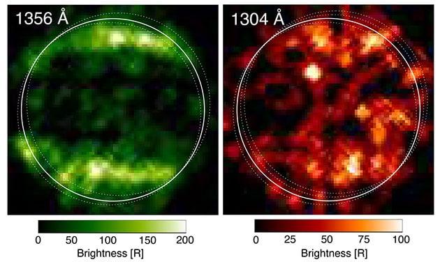 Hubble-Aufnahmen von Ganymed im UV-Spektrum offenbarte 1998 Polarlichtbänder. Copyright: SCIENCE: NASA, ESA, Lorenz Roth (KTH)