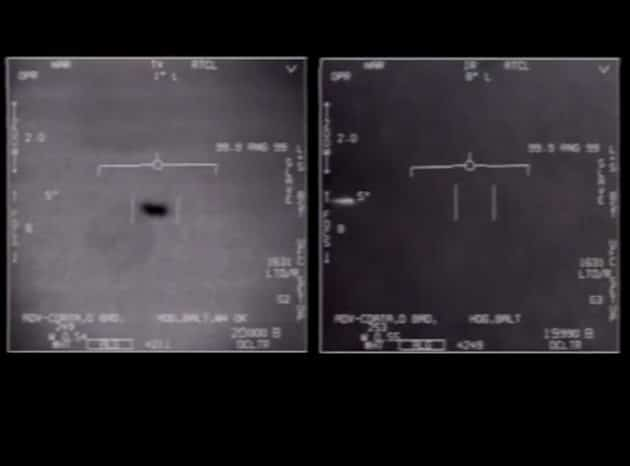 """Standbilder aus dem """"Tic Tac UFO-Video"""" von 2014 Copyright/Quelle: US Navy / US DoD"""