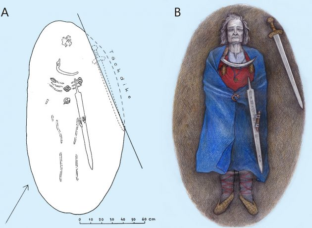 """Grafische Rekonstruktion des Grabfundes (A) von Suontaka und der """"Frau mit Schwert"""" (B). Copyright: Finnish Heritage Agency (Fund)/ Veronika Paschenko (Illu.)."""