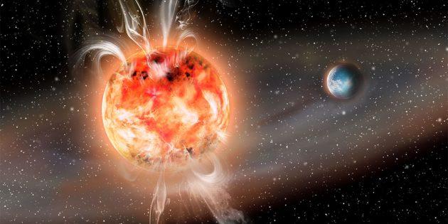 Künstlerische Darstellung eines Roten Zwergsterns mit polnahen Flares, die an einem erdartigen Planeten innerhalb der habitablen Zone vorbeifeuern (Illu.) Copyright: AIP/J. Fohlmeister
