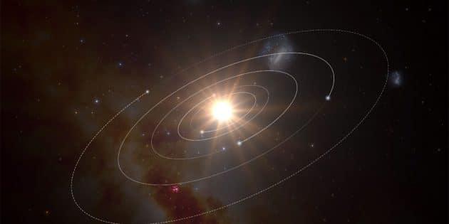 """Grafische Darstellung der Planeten um den nur 35 Lichtjahre entfernten Stern """"L 98-59"""" (Illu.). Copyright: ESO"""