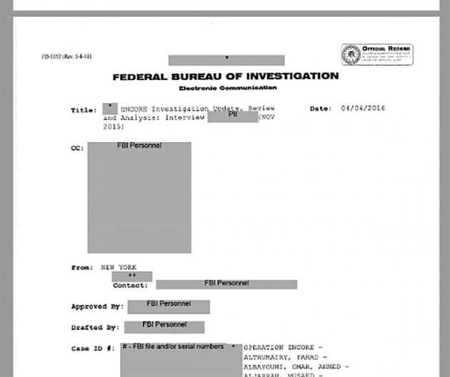 Die erste Seite des 9/11-Memos des FBI. Copyright: US Gov. / FBI