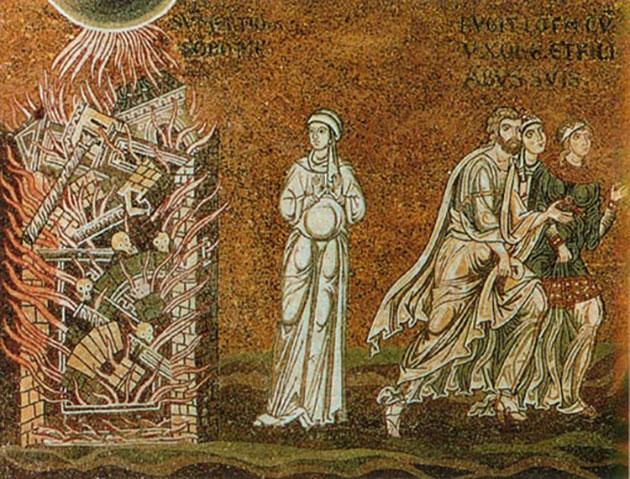 Lot flieht aus Sodom, sizilianisches Mosaik aus dem 12. Jahrhundert. Copyright: Gemeinfrei