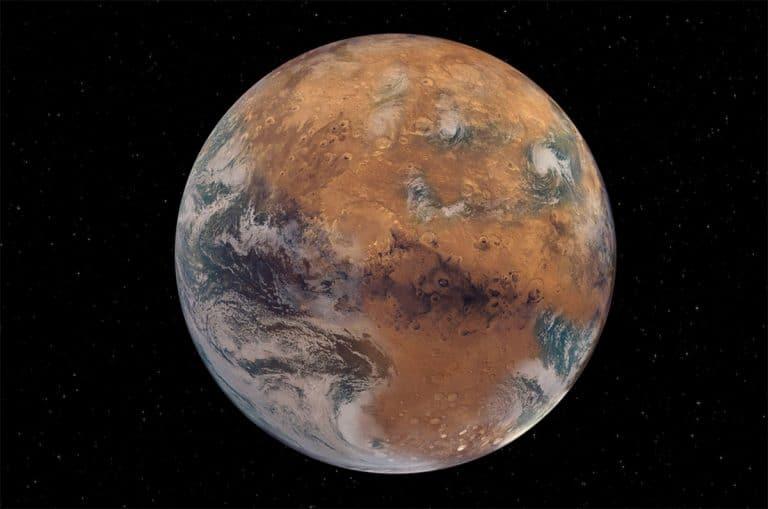 Künstlerische Darstellung des Mars mit einer erdähnlich wässrigen Oberfläche (Illu.). Copyright: NASA Earth Observatory/Joshua Stevens; NOAA National Environmental Satellite, Data, and Information Service; NASA/JPL-Caltech/USGS; Graphic design by Sean Garcia/Washington University