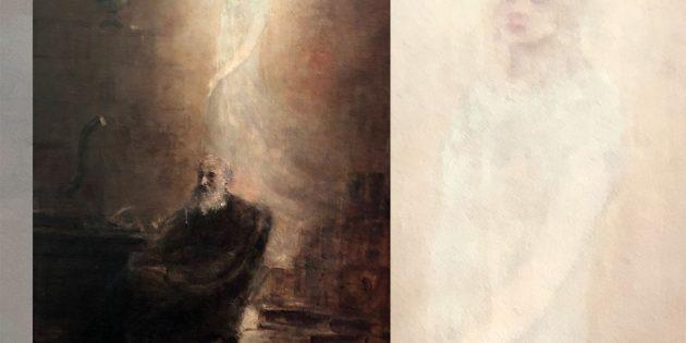 """""""Erscheinung"""", Gemälde von Eugeniu Voinescu (19. Jhrd.). Nach dem Tod seiner Tochter Iulia kam der für seine maritimen Ölgemälde bekannte rumänische Maler aufgrund von Erscheinungen seiner Tochter zu der Überzeugung, mit ihr weiterhin kommunizieren zu können und beschäftige sich zunehmend mit dem Spiritualismus. Copyright: Gemeinfrei"""