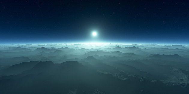 Blick von der Oberfläche eines Planeten auf seinen Weißen Zwergstern (Illu.). Copyright: Jack Madden/Carl Sagan Institute