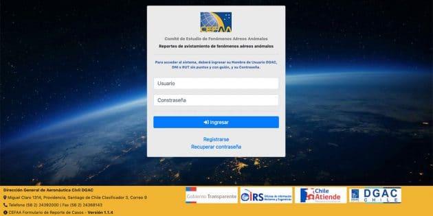 Registrierungsseite zum Meldebogen der CEFAA zu Sichtungen anomaler Luftphänomene in Chile. Copyright: CEFAA