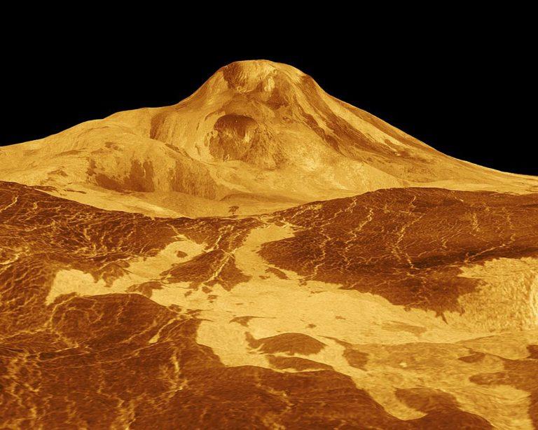 Simulierte 3D-Ansicht auf den höchsten Venus-Vulkan Maat Mons. Copyright/Quelle: NASA/JPL