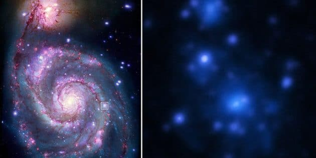 """Die """"Whirlpool""""-Galaxie """"Messier-51"""" im sichtbaren (l.) und Röntgenspektrum (l.). Die Position des Systems """"M51-ULS-1"""" ist mit einem Rahmen markiert. Copyright: NASA/CXC/M. Weiss (l.) / ESA (r.)"""